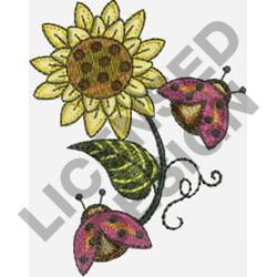 FLOWER & LADYBUGS embroidery design