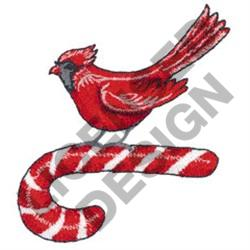 CARDINAL ON CANDY CANE embroidery design