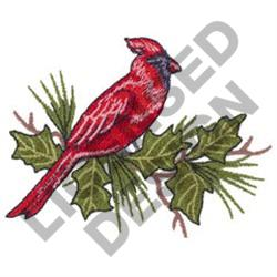 CARDINAL AND HOLLY embroidery design