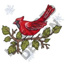 CARDINAL & SNOWFLAKES embroidery design