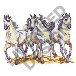 THREE WHITE HORSES embroidery design