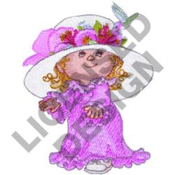 GIRL IN FLORAL HAT embroidery design