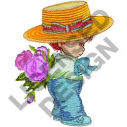 BOY IN STRAW HAT embroidery design