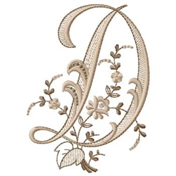 Monogram D embroidery design
