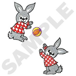 Bunnies Playing Ball embroidery design