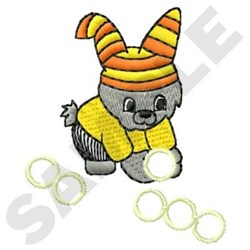 Bunny With Balls embroidery design