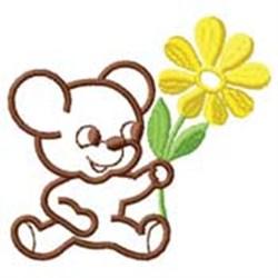 Bear W/ Flower embroidery design