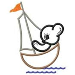 Bear In Boat embroidery design
