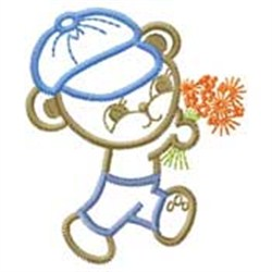 Bear W/ Flowers embroidery design