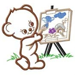 Bear Painting embroidery design