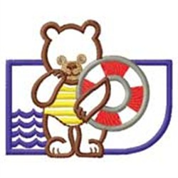 Bear Swimming embroidery design