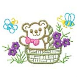 Bear In Basket embroidery design