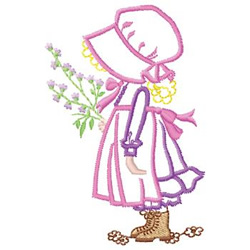 Girl With Flower Embroidery Designs Machine Embroidery