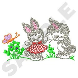 Spring Bunnies embroidery design