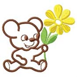 Bear W/ Flower embroidery design
