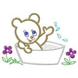 Bear In Tub embroidery design