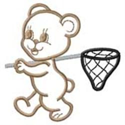 Bear W/ Net embroidery design