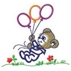 Bear W/ Balloons embroidery design
