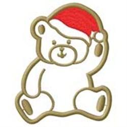 Bear W/ Santa Hat embroidery design
