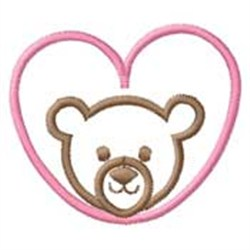 Bear W/ Heart embroidery design