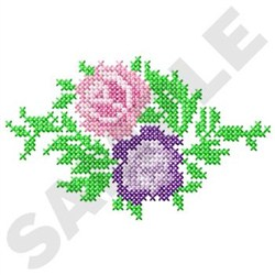 Two Roses Cross Stitch embroidery design