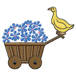 Duck And Flowers embroidery design