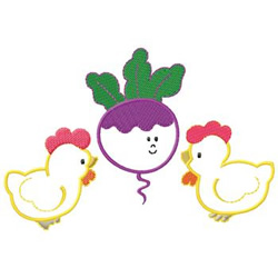 Chickens embroidery design