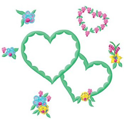 Hearts & Flowers embroidery design