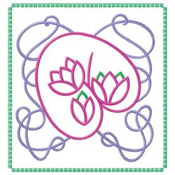 Framed Flowers embroidery design