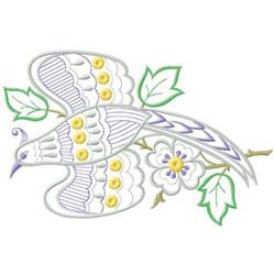 Flowered Bird embroidery design