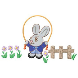 Bunny Jumping Rope embroidery design