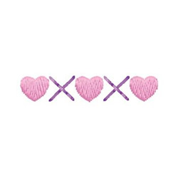 Heart And X Border embroidery design