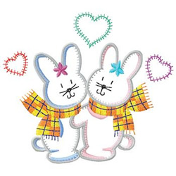 Rabbits With Hearts embroidery design