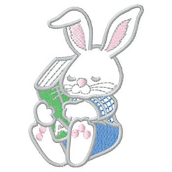 Rabbit With Book embroidery design