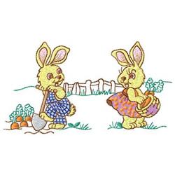 Rabbits Digging Carrots embroidery design