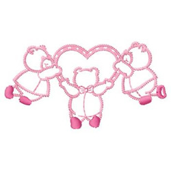 Bears And Heart embroidery design