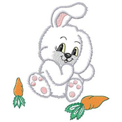 Rabbit And Carrots embroidery design