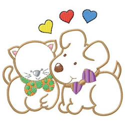 Kitty And Puppy embroidery design
