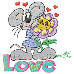 Love Mouse embroidery design