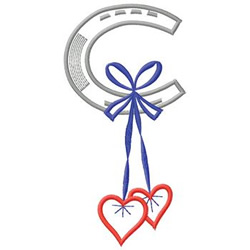 Horseshoe With Hearts embroidery design