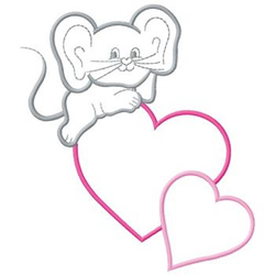 Mouse On Hearts embroidery design