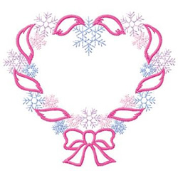 Ribbon Snowflake Heart embroidery design