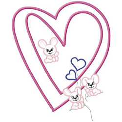 Bunnies And Hearts embroidery design