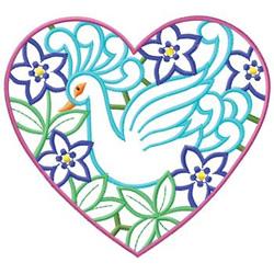 Bird In Heart embroidery design