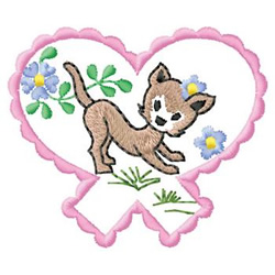 Cat In Heart embroidery design