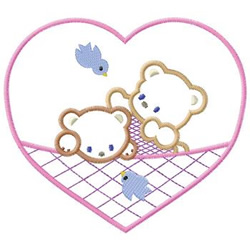 Bears In Heart embroidery design