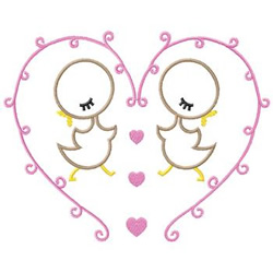 Heart With Chicks embroidery design