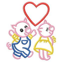 Pigs In Love embroidery design