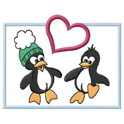 Penguins In Love embroidery design