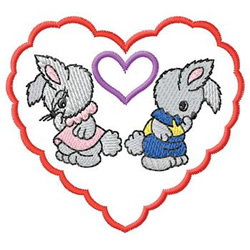 Rabbits In Heart embroidery design